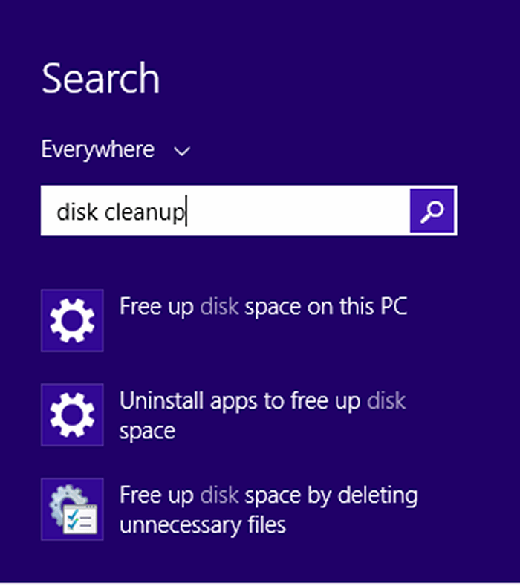 Type 'disk cleanup' in the Windows 8 Search menu.