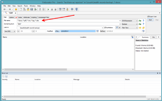 A query in FileLocator Pro.