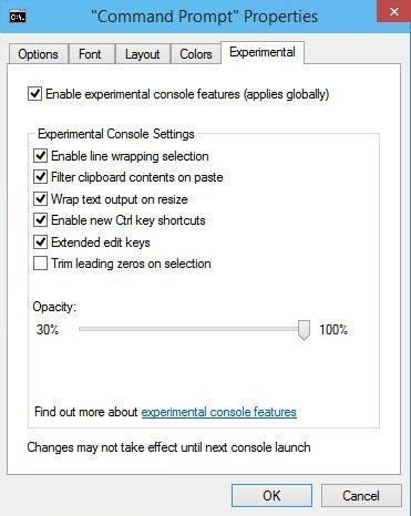 The Experimental tab shows which new features are enabled by default.