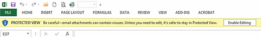 Protected View warning in Excel
