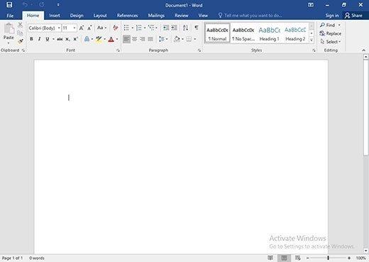 Desktop version of Word 2016