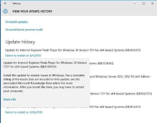 Windows gives a basic description of the update, but does not say why the update failed.