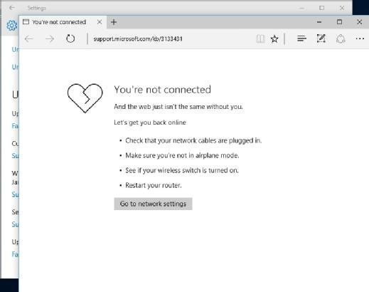 The Edge browser tells you if you are not connected to the internet.