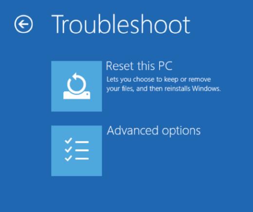 Troubleshoot screen