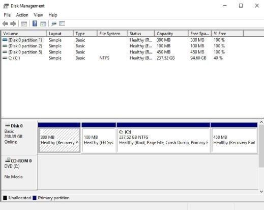 Disk Management console