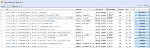 Treffer für KB4010250 umfassen Windows 8 Embedded, 8.1, Server 2012 & 2016 sowie populäre Windows 10 Versionen.