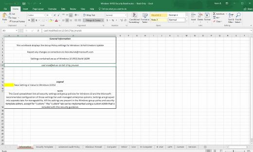 Der Download des Security Compliance Toolkit hat eine Excel-Tabelle im Gepäck, in der Admins die Einstellungen und Informationen für GPOs finden.