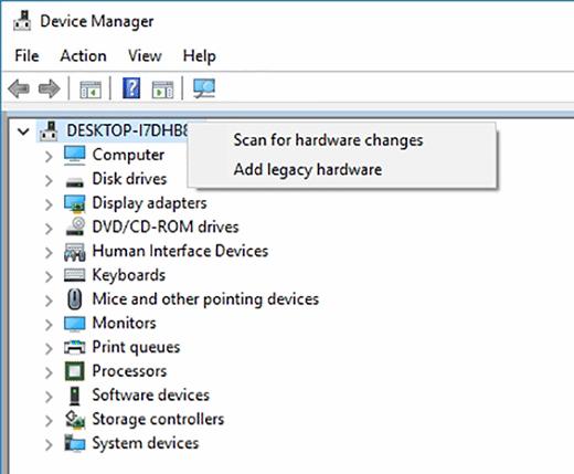 Hardware change scans