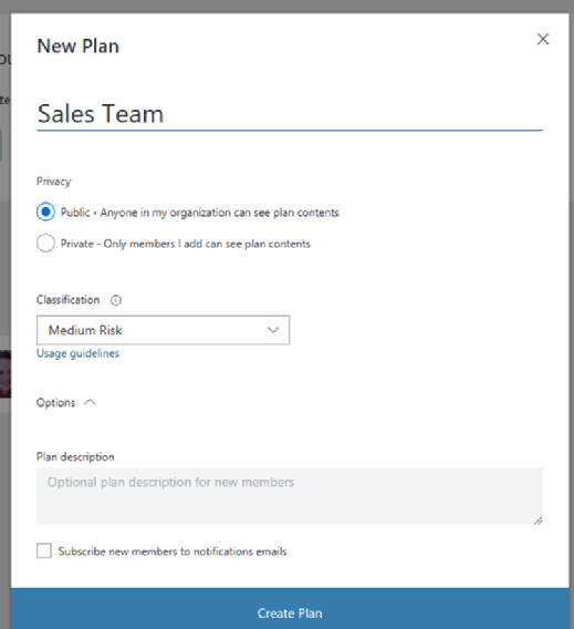Office 365 Groups plan