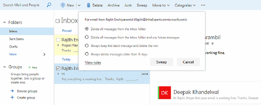 Outlook's new Web Sweep feature