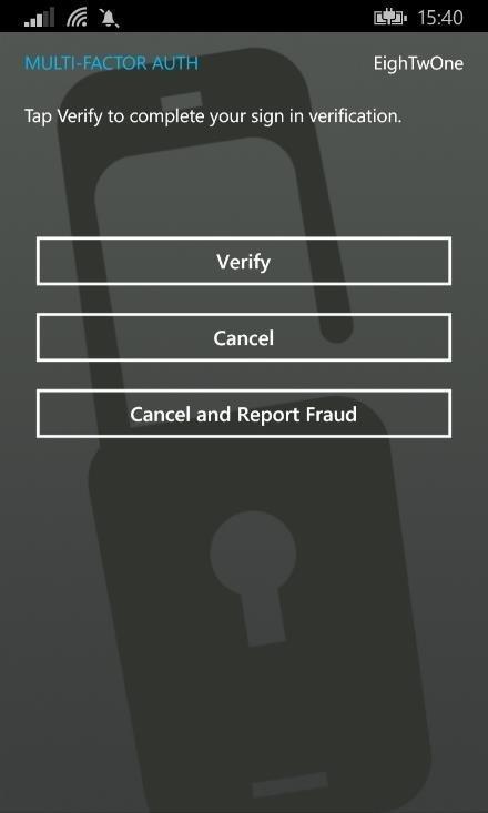Multifactor auth verification
