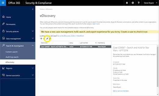 Office 365 eDiscovery case search criteria