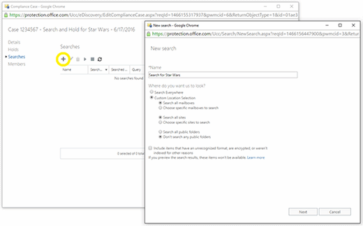Office 365 eDiscovery search controls