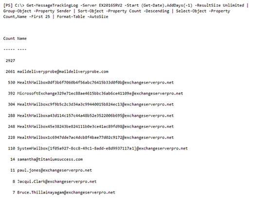 Exchange log PowerShell script