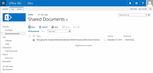 A SharePoint Online document library.