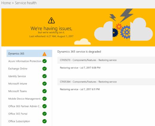 Office 365 service disruption