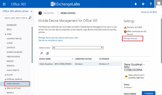 Configure Office 365 MDM