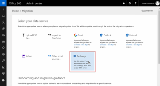 Data migration page