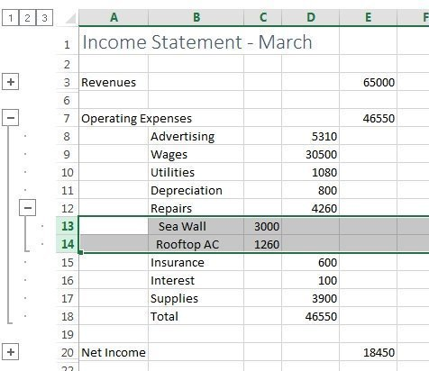 Figure 9: Excel Grouping