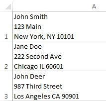 addresses in Excel