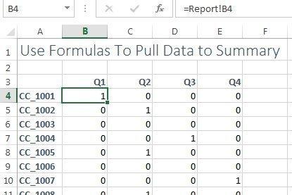 zeros in summary worksheet