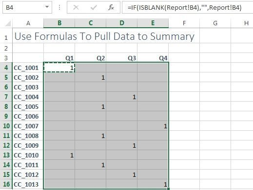 data pulled to summary worksheet