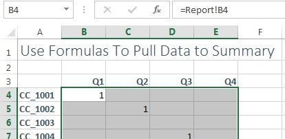 summary worksheet with zeros suppressed