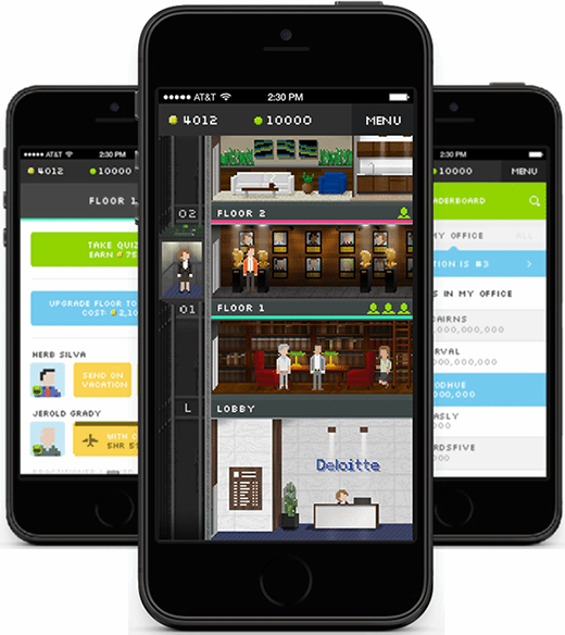 The Mini Deloitte smartphone game allowed employees to build floors in an office building and hire consultants to expand their practices.