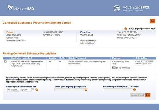 AdvancedEPCS prescription signing screen