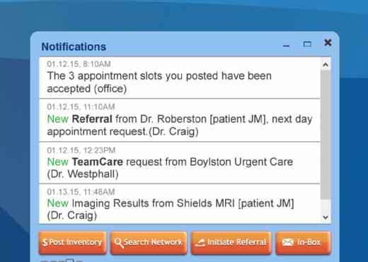 Par8o's patient referral process software coordinates a specialist's notifications.