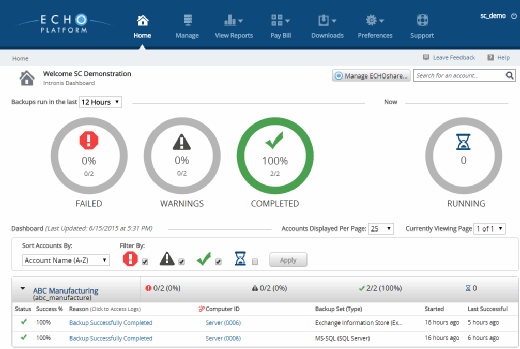 Intronis backup software dashboard