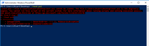 Unsigned PowerShell script