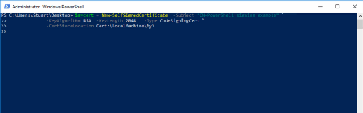 Create a self-signed certificate to control PowerShell scripts