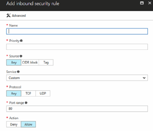 Azure security rules