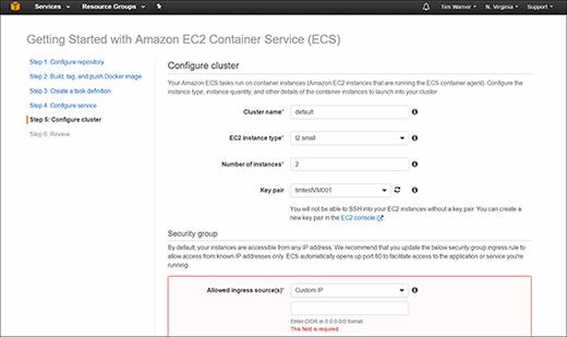 Amazon EC2 Container Service window