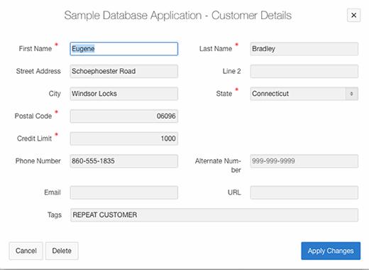Sample database application customer details