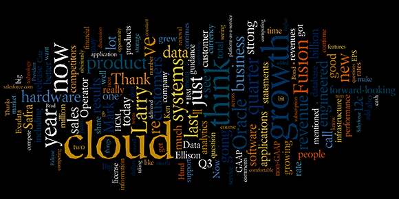 Oracle earnings call word cloud