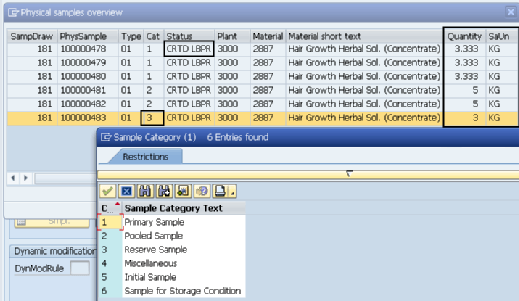 Physical samples overview SAP Sample Management