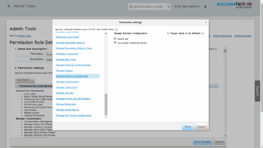 Permissions Employee Central manage business configuration app
