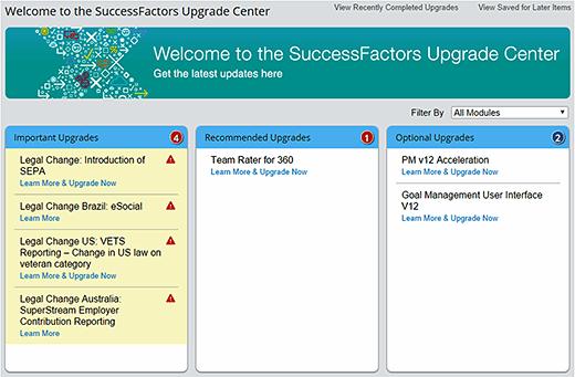 SuccessFactors Upgrade Center