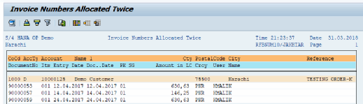 SAP report S_ALR_87012341 checks for invoice numbers that have been allocated twice.