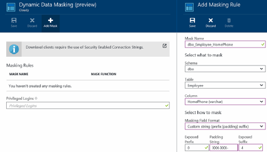 Figure 15. Create and add the HomePhone masking rule in Azure SQL Database.