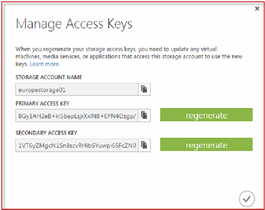 Figure 4: Storage account information needed to create stored credentials
