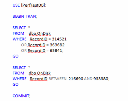 Figure 6. T-SQL code to return multiple rows to dbo.OnDisk.