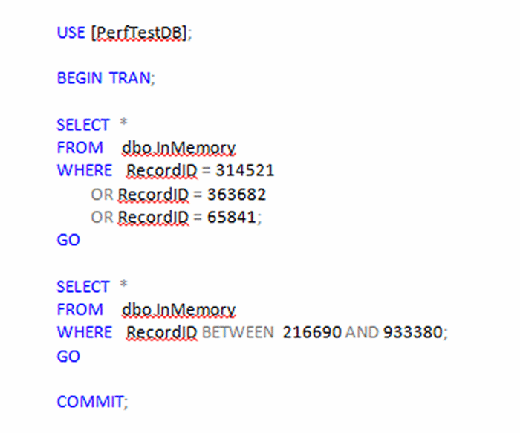 Figure 7. T-SQL code to return multiple rows to dbo.InMemory.