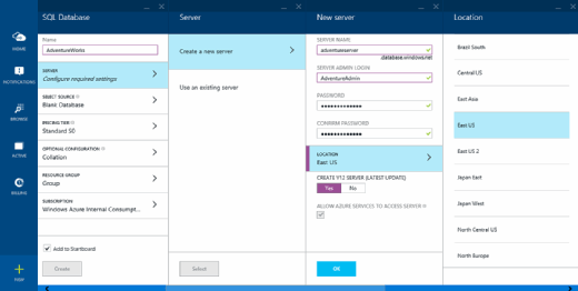 An example of an Azure SQL Database