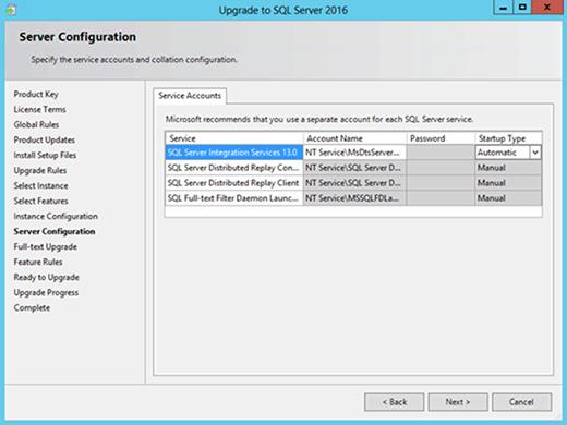 Server Configuration screen