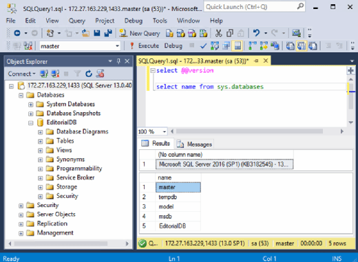 SSMS manages a SQL Server container
