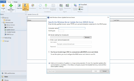 Link SCVMM to WSUS server via the dialog box