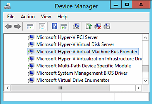 Make sure the VMBus driver is installed and enabled on the Hyper-V host